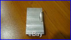 Rare Vintage St Dupont Line 1 Large Wave Design Silver Plated Lighter