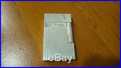 Rare Vintage St Dupont Line 2 Lighter Montparnasse Silver Plated Vertical Lines