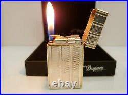 Rare Vintage Working ST Dupont Lighter Silver Plated Ligne France Original Box #