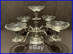 Reed & Barton Victorian 166 Four Arm Epergne Silver Plate and Liners Vintage