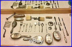 SCRAP LOT Vintage Large Sterling Silver Lot Flatware Vanity Brushes