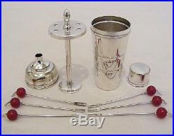 Super Unusual Vintage Art Deco Silver Plate Cocktail Shaker Cocktail Sticks 1920