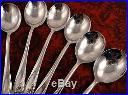 Set 8 Cream Round Soup Spoons DAFFODIL 1847 Rogers Bros Vintage 1950 Silverplate