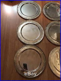 Set Of 12 Pottery Barn Vintage Vine Charger 13 Platter Silver Plates Lot USED