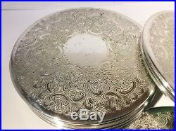 Set Of 12 Vintage Barker Ellis Silver Plated Placemats, Embossed Design 7