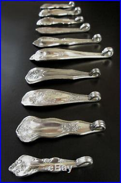 Silver Plate Necklace Pendants 10 Vintage Antique Silverware Spoon Handle Lot