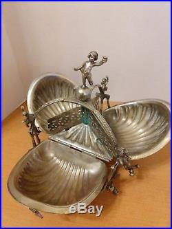Silver Plate Victorian Triple Fold Gilt Biscuit Box/Bun Warmer Antique/Vintage