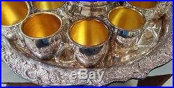 Silverplate Punch Bowl with Tray Ladle & 22 Cups by Towle FB Rogers Vintage