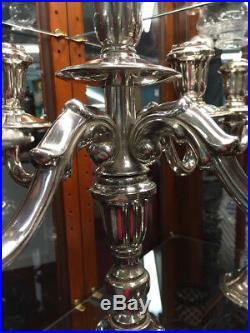 Tall Vintage Silver Plate Candelabras Grand and Stately! Hold 5 Candles or 1