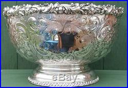 Traditional Ornate Vintage Possibly Antique Silver Plate Punch Bowl