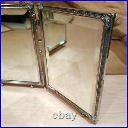 Tri Folding Travel Mirror Silver Plate Flowers Vanity Makeup Vtg Swanky Barn