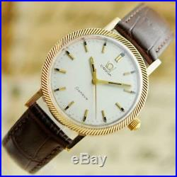 Unusual Original Omega Gold Plated Manual Wind Vintage Gents Watch Almost Mint