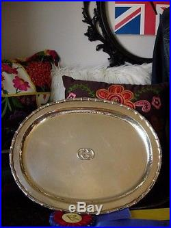 Utra RARE Vintage GUCCI Silver Table Service Tray Platter Cocktail Party Plate