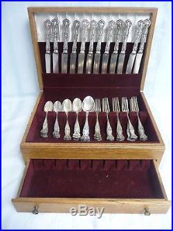 Vintage 1847 Rogers Bros. Grape Flatware, Xs Triple Silver Plate, 68 Pieces