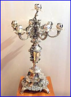 VINTAGE AUSTRIA WIEN VIENNA 925 STERLING SILVER CANDLESTICK CANDELABRA c. 1880