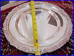 Vintage Beautiful Italian 1940 Silver Plate Argenteria Rio Round Tray 2 1/2 Lbs