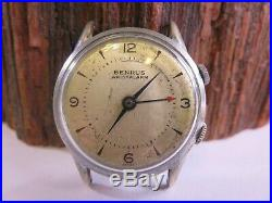 VINTAGE Benrus Wrist Alarm Mens 34mm Chrome Plated Wrist Watch Model DS15 PW