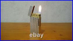 VINTAGE CARAN d'ACHE LIGHTER SILVER PLATED DIAMOND DESIGN