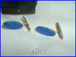VINTAGE DAVID ANDERSON Norway GOLD PLATED STERLING SILVER GUILLOCHE CUFFLINKS