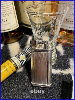 VINTAGE DUNHILL UNIQUE Pocket Lighter Silver Plated Barley PatternLift Arm