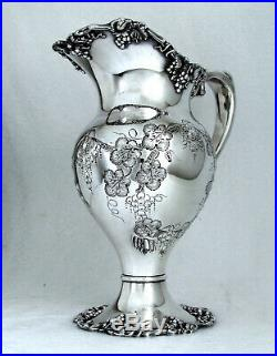 VINTAGE GRAPE 1847 ROGERS INTERNATIONAL CHASED WATER PITCHER 80 oz