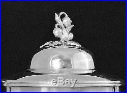 Vintage Large Silver Plate Samovar Hot Water Pot Urn Coffee Pot Squash Blossom