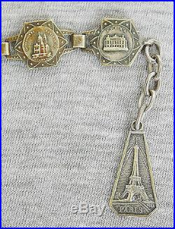 VINTAGE SILVER PLATE FILIGRANE DEPOSE PARIS FRANCE SOUVENIR BRACELET CA. 1920s