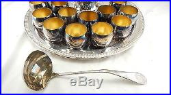 VINTAGE Sheridan Silver Plated Punch Bowl Set Large Tray Ladle & 12 Cups IN BOX