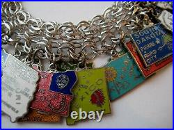 VINTAGE Silver Plate & Enamel UNITED STATES Map Travel Charm Bracelet LOADED
