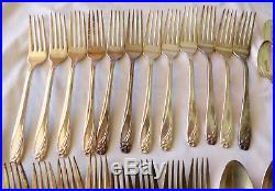 VTG 1950's 55pc 1847 Rogers Bros. Daffodil Eternally Yours Silverplate Flatware