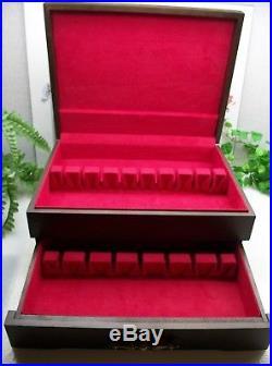 VTG McGraw Sterling Silverplate Flatware Wooden Wood Storage Chest Case Box 16+