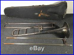 VTG Silverplate JW York and Sons Grand Rapids Mich Trombone Parts or Restore