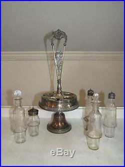 VTG Silverplate Table Cruet Set Vinegar Oil Salt Pepper Shakers Toothpick Holder
