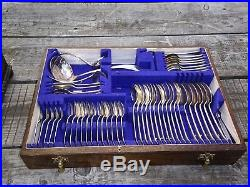 Vintage 146 Piece Viners Old English Pattern Canteen Of Silver Plated Cutlery