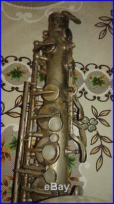 Vintage 1926 Silver Plated York Saxophone #84932 w Rico Reloflex 4M Mouthpiece