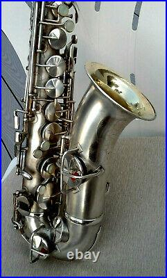 Vintage 1927 KING Silver Plated Alto Sax in Restorable Condition withOriginal Case