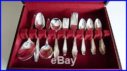 Vintage 1934 Holmes and Edwards Inlaid Silver Plate flatware set for 8 persons