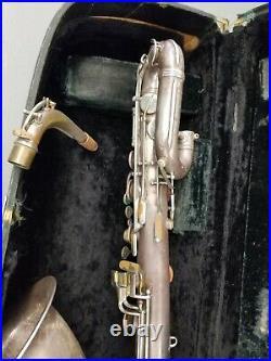 Vintage 1957 Conn 12M Baritone Silver Plated Saxophone