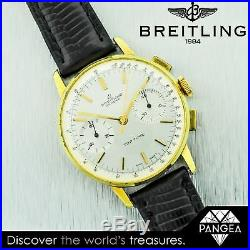 Vintage 1960s Breitling Top Time Chronograph Ref 2003 36mm Gold Plated Watch
