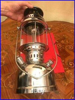 Vintage 1970s Anchor Kerosene Silver Plated Metal Hanging Lamp