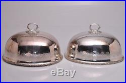 Vintage 2 Matching MAPPIN BROTHERS SHEFFIELD Silver Plate Meat Food Dome Covers