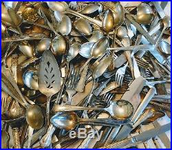 Vintage 266 pc Mix Silver plate Flatware Lot Arts Crafts Resale Serving Antique
