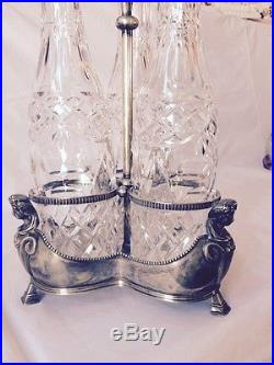 Vintage 3 Matching Decanters with Stoppers in Silver Plate 3 Graces Tantalus