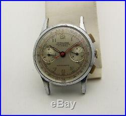 Vintage 34mm 1940's Chrome Plated Wakmann 422 Chronograph Valjoux 92 Movement