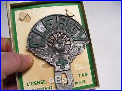 Vintage 40s original nos CLERGY license plate topper Priest emblem auto gm chevy