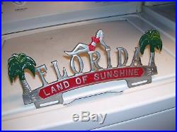 Vintage 50s nos Florida License plate topper girl gm ford chevy rat rod pontiac