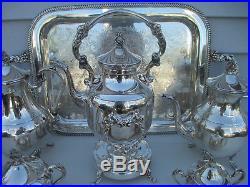 Vintage 6pc Pilgrim Silverplate Coffee Tea Set with Tilting Pot & Sheffield Tray