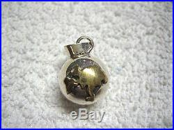 Vintage 925 Mexico Sterling Silver & Gold Plate Chime Globe Ball Pendant