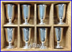 Vintage 970 Silver Cordial Liqueur Shot Cups Mini Goblets Nice With Wood Box