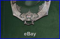 Vintage ABP Sterling Silver, Glass, and Enamel Serving Platter withHandles Heisey